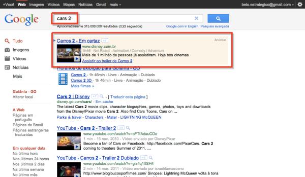 Faça uma busca por Cars 2 no Google
